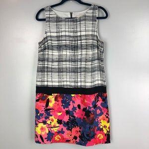 LOFT geometric & floral print shift dress